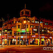 Huntington Beach Downtown Nightside 1 Poster by Jim Carrell