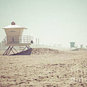 Huntington Beach Lifeguard Tower #1 Retro Photo Poster by Paul Velgos