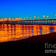 Huntington Beach Pier - Nightside Poster by Jim Carrell