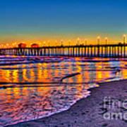 Huntington Beach Pier Sundown Poster by Jim Carrell