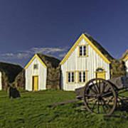 Icelandic Turf Houses Poster by Claudio Bacinello