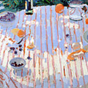 In The Garden Table With Oranges  Poster by Sarah Butterfield