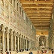 Interior Of San Paolo Fuori Le Mura Poster by Giovanni Paolo Panini