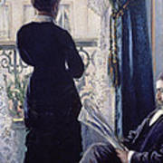 Interior Woman At The Window Poster by Gustave Caillebotte