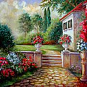 Italyan Villa With Garden  Poster by Regina Femrite