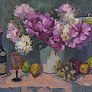 J. P. Chenet And Peonies Poster by Diane McClary