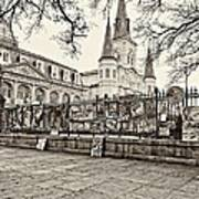 Jackson Square Winter Sepia Poster by Steve Harrington