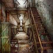 Jail - Eastern State Penitentiary - Down A Lonely Corridor Poster by Mike Savad