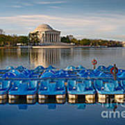 Jefferson Memorial And Paddle Boats Poster by Jerry Fornarotto