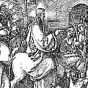 Jesus On The Donkey Palm Sunday Etching Poster by
