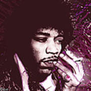 Jimi Hendrix Purple Haze Red Poster by Tony Rubino