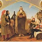 John Wycliffe Reading His Translation Of The Bible To John Of Gaunt Poster by Philip Ralley