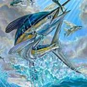 Jumping White Marlin And Flying Fish Poster by Terry Fox
