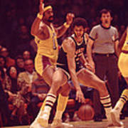 Kareem Abdul Jabbar Dribles  Poster by Retro Images Archive