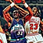 Karl Malone Vs. Michael Jordan Poster by Florian Rodarte