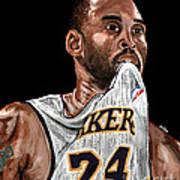 Kobe Bryant Biting Jersey Poster by Israel Torres