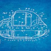 Komenda Vw Beetle Body Design Patent Art 3 1944 Blueprint Poster by Ian Monk