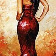 Lady In Red 035 Poster by Emerico Imre Toth