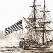 Lady Washington At Friendly Cove Sepia Poster by James Williamson