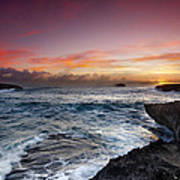 Laie Point Sunrise Poster by Sean Davey