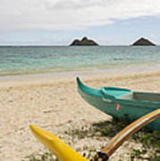Lanikai Beach Outrigger 2 - Oahu Hawaii Poster by Brian Harig