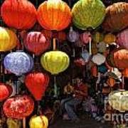 Lanterns Hanging In Shop In Hoi An Poster by Sami Sarkis