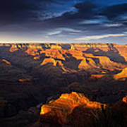 Last Light In The Grand Canyon Poster by Andrew Soundarajan