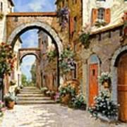 Le Porte Rosse Sulla Strada Poster by Guido Borelli