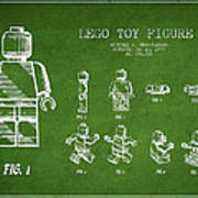 Lego Toy Figure Patent Drawing From 1979 - Green Poster by Aged Pixel