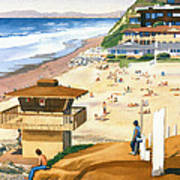 Lifeguard Station At Moonlight Beach Poster by Mary Helmreich
