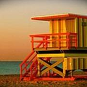 Lifeguard Tower In Miami Beach Poster by Monique Wegmueller