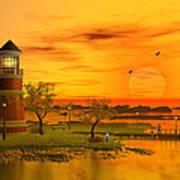Lighthouse At Sunset Poster by John Junek