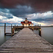 Lighthouse - Outer Banks Nc Manteo Lighthouse Roanoke Marshes Poster by Dave Allen