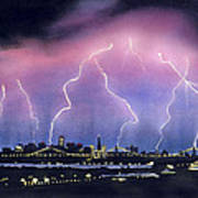 Lightning On The Bay Bridge Poster by Janaka Ruiz