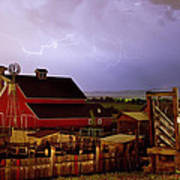 Lightning Strikes Over The Farm Poster by James BO  Insogna
