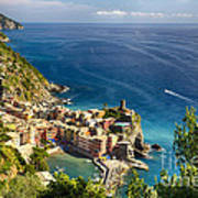Ligurian Coast View At Vernazza Poster by George Oze
