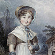 Little Girl In A Quaker Costume Poster by Isaac Pocock