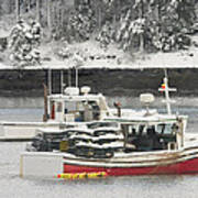 Lobster Boats After Snowstorm In Tenants Harbor Maine Poster by Keith Webber Jr
