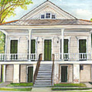Louisiana Historic District Home Poster by Elaine Hodges