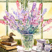 Lupins On Windowsill Poster by Julia Rowntree