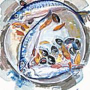 Mackerel Mussels Leaves Poster by Grace Keown