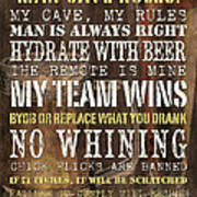 Man Cave Rules 2 Poster by Debbie DeWitt