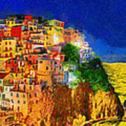 Manarola By Night Poster by George Rossidis