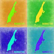 Manhattan Pop Art Map 2 Poster by Naxart Studio