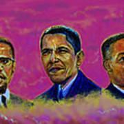 M.a.n...malcolm- Obama- Martin Poster by Tommy  Winn