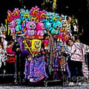 Mardi Gras Vendor's Cart Poster by Marian Bell