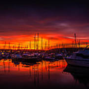 Marina Sunset Poster by Dawn OConnor
