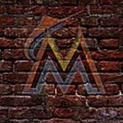 Marlins Baseball Graffiti On Brick  Poster by Movie Poster Prints