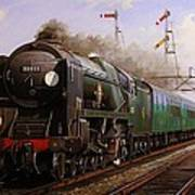 Merchant Navy Pacific At Brookwood. Poster by Mike  Jeffries