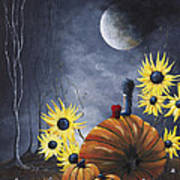 Midnight In The Pumpkin Patch By Shawna Erback Poster by Shawna Erback